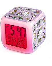Despertador Unicornio para Niñas, Comius Sharp Alarma Digitales LED de Noche Que Brilla Intensamente Reloj LCD con Luz cabecera para niños Dormitorio (B)