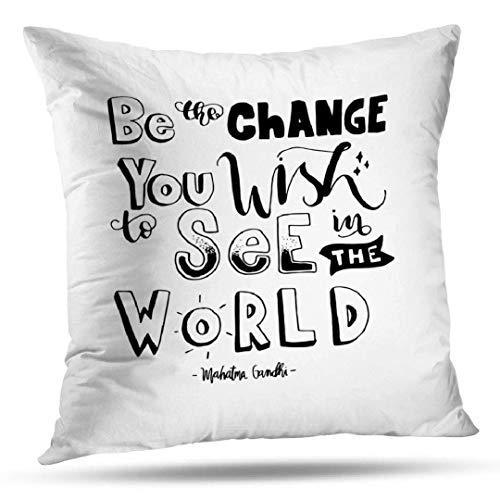GFFD Joy Pillowcase Fundas de cojín Wish Quote Inspirational Wall Art Cojín Cuadrado Moderno para sofá Sofá Cama Poliéster Blanco