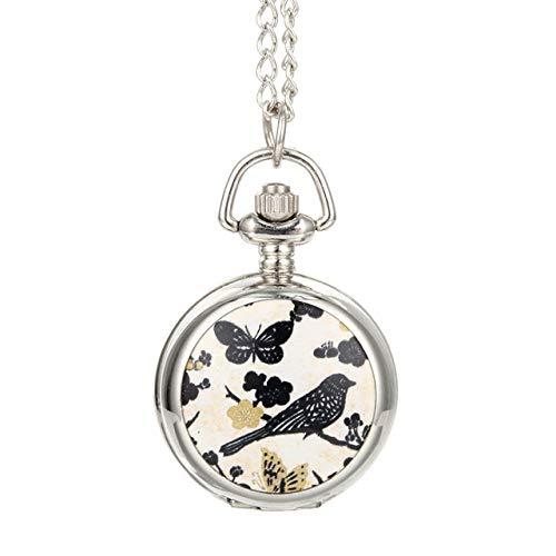 CAIDAI&YL Reloj de bolsillo de cuarzo vintage de aleación de pájaros flores mariposa señora suéter cadena collar colgante reloj mujeres regalos como se muestra