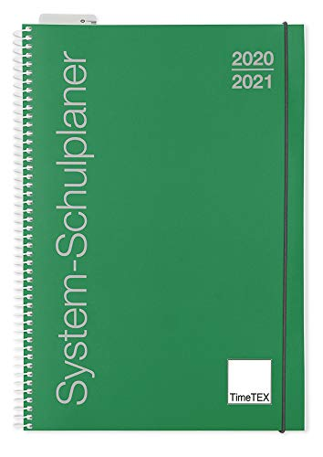 TimeTex System-Schulplaner A4-Plus Grün - Ringbuch mit Verschlussgummi - Schuljahr 2020-2021 - Lehrerkalender - Unterrichtsplaner - Timetex 10730