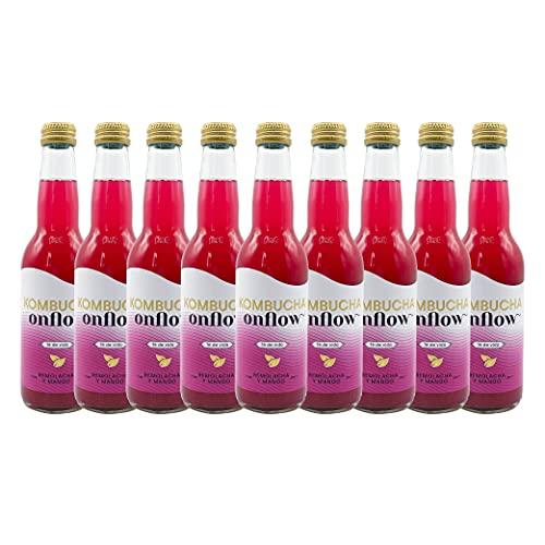 Te Kombucha bebida energetica kombucha scoby probióticos intestinales sin azucar añadido ecológico fermentado / botellas de kombucha Onflow (Remolacha - Mango, PACK DE 9 BOTELLAS)