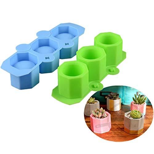 Silikonform zur Herstellung von Blumentöpfchen aus Keramik, Ton, für Sukkulenten, Beton, Pflanzgefäß, Vase, Kunsthandwerk, für Kerzen, Kuchen, Pizza, Gelee, Mikrowelle und Gefrierschrank Grün/Blau