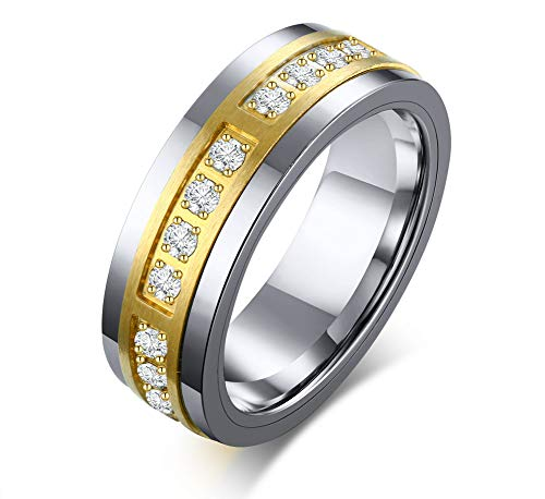 VNOX Two-Tone Gold Plated Tungsten Carbide 3A Cubic Zirconia Stripe Groove Wedding Band Engagement Ring for Men,Size X 1/2
