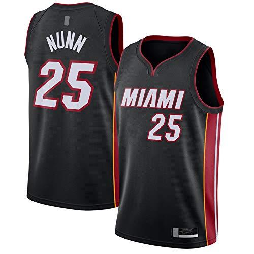 ANMOQI Negro - Nunn Mesh Outdoor Miami Basketball Jersey Kendrick Ropa #25 2020/21 Swingman Jersey Heat Icon Edition-L