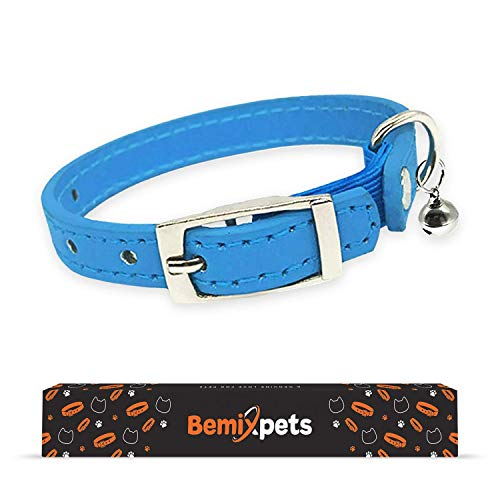 Leather Cat Collar, Cat Collar with Elastic Strap,Kitten Collar with Bells, Gift, Colors: Black, Orange, Green, Pink, Purple, Small Pets, Medium, Boy, Girl, Baby