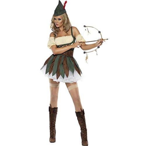 Amakando Bogenschützin Robin Hood Kostüm Damen S 32/34 Damenkostüm Elbe Frauenkostüm Waldläuferin Verkleidung Mittelalter Karnevalskostüm Diebin