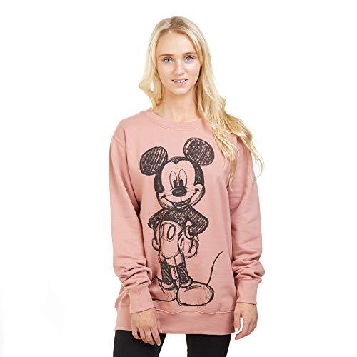 Disney Damen Mickey Forward Sketch Sweatshirt, Pink (Dusty Pink Ltpk), 38 (Herstellergröße: Medium)