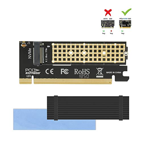 NVME Adapter with Heat Sink fo M.2 NVME (M-Key) SSD to PCIE 3.0 X16 Expansion Card