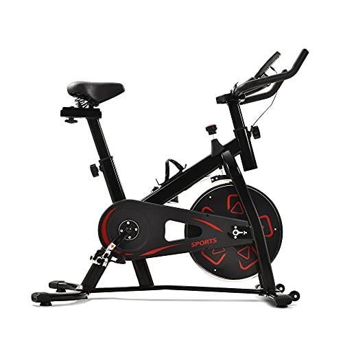 Itopfoxeu Cyclette, volano da 6 kg, per la casa, per la spinning, la famiglia, piccolo cyclette per interni con resistenza regolabile e seduta, schermo LCD, supporto per cellulare rosso