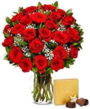 Flowers - Two Dozen Red Roses with Godiva Chocolates (Free Vase Included)