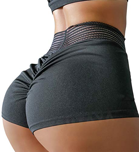TSUTAYA Sports Short for Women Sexy Butt Lifting Gym Running Workout Yoga Spandex Shorts Hot Pants Casual Beach Shorts Black, S