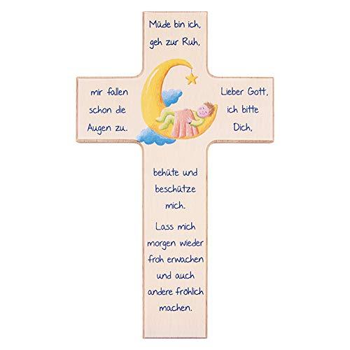 FRITZ COX® - Kinder- Holzkreuz: 'Kind im Mond' 20 cm - Das besondere Geschenk für unsere Liebsten und ein schönes Kreuz für jedes Kinderzimmer