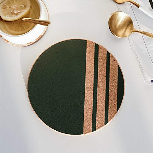 UNIMATSPADS Coaster - Manteles individuales con diseño geométrico de corcho, alfombra de mesa Coaster Green Stripe, 10 cm
