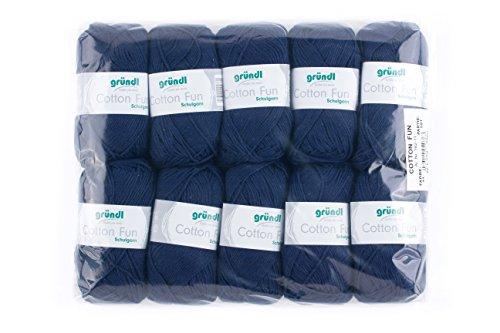 Gründl Cotton Fun Wolle, Baumwolle, Marine, 27 x 11 x 7 cm