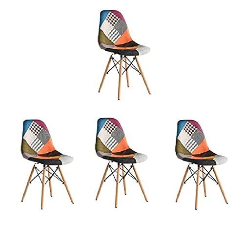 Juego de sillas de Comedor de Retazos Silla de Sala de Estar de Ocio con Asiento y Respaldo Suaves de Tela Hermosa para el hogar la Cocina la Oficina (Paquete de 4 Patchwork Multicolor)