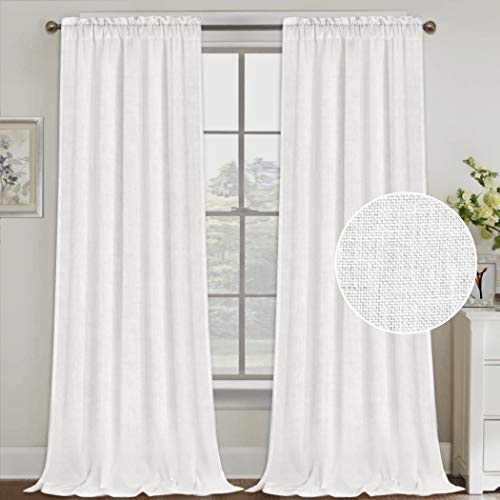 Natural Linen Curtains 108 Inches Extra Long Rod Pocket Semi Sheer Curtain Drapes Elegant Casual Linen Textured Window Draperies, Light Filtering Privacy Added Home Fashion 2 Panels, White