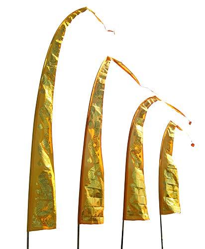 DEKOVALENZ Drachenfahnen-Stoff Gold Dragon |mit herzförmiger Spitze | Umbul Asien-Fahnen | Fahnenlänge: 5 Meter | Farbe: Gold