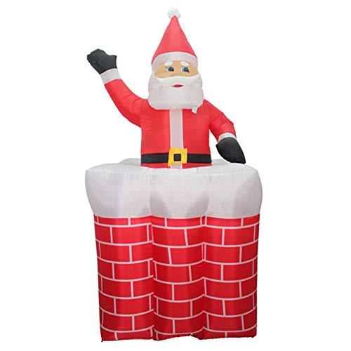 WNTHBJ Elektrische aufblasbare Weihnachtsmann Ornament, 1,5 m hoch und runter Schornstein Hotel Mall Türdekoration, nach Oben und unten Kamin Weihnachtsmann