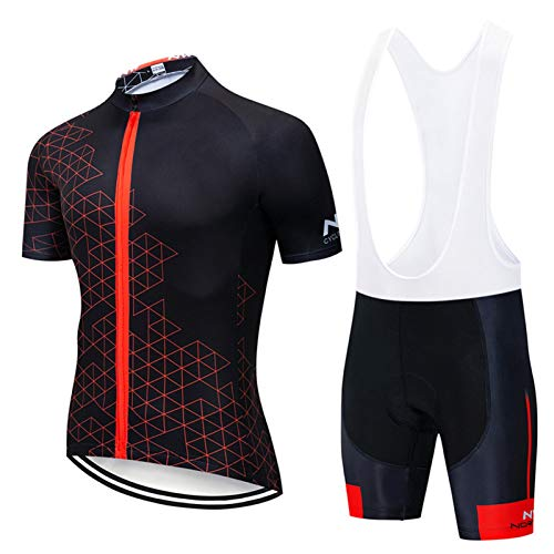 QWA Men's Short Sleeves Cycling Jersey Full Zip Set Road Bike Bicycle Shirt + Bib Shorts with 20D Gel Padded MTB Riding Clothing kit (Color : Black 2, Size : H(4XL))