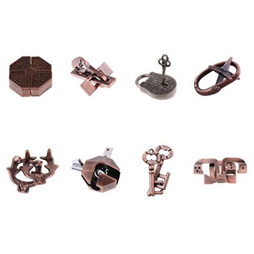 non-brand 8 Unids Chinese Lock Puzzle Metal Brain Teaser IQ Test Juguetes para Adultos Niños