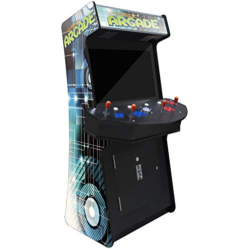 Creative Arcades Slim Full-Size Commercial Grade Cabinet Arcade Machine | Trackball | 3500 Classic Games | 4 Sanwa Joysticks | 2 Stools Included | 32