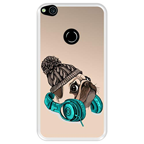 Funda Transparente para [ Huawei P8 Lite 2017 - P9 Lite 2017 - Nova Lite ] diseño [ Hipster Pug - Music It's my Escape ] Carcasa Silicona Flexible TPU