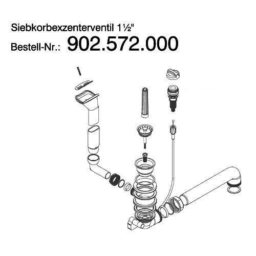 Ab- und Überlaufgarnitur für Spüle EFG 614 Fragranit / Franke / Euroform / Excenterventil mit gebogenem Überlauf