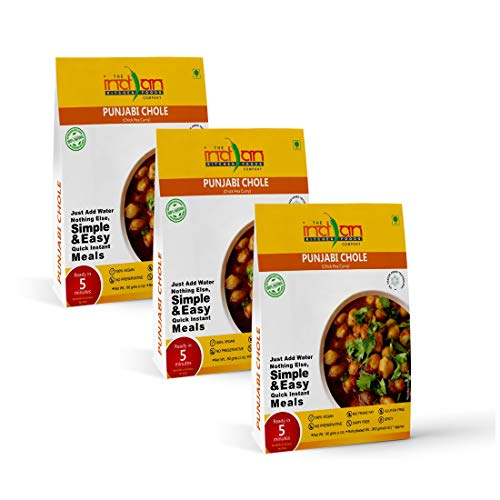 The Indian Kitchen Foods Co. Chick Pea Curry (Punjabi Chole) - Freeze Dried Gluten-Free Gourmet Indian Entree Ready in 5 min Vegan Meal - Rehydrated 9 oz Pack of 3
