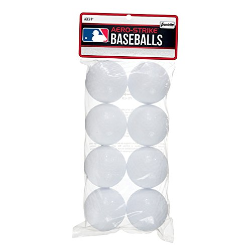 Franklin Sports Plastic Baseballs - Practice Plastic Baseballs for Kids - Solid Plastic Balls for Hitting - Pack of 8 (70mm), White (14938P6)