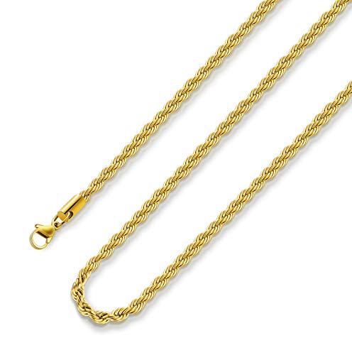 Gold Plated Necklace for Men 3MM 16 Inches Stainless Steel Twist Rope Chain for Women Boys