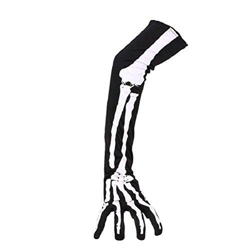 Tinksky Guantes de esqueleto de Halloween guantes largos del dedo del brazo largo traje trajes de Halloween del partido de Cosplay 1 par
