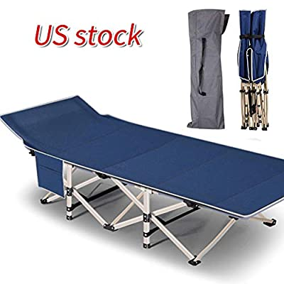 Oeyal Camping Cot Folding Camping Bed for Adults, Heavy Duty Collapsible Sleeping Bed, Travel Military Portable Cots Bed with Carry Bag for Indoor & Outdoor Use