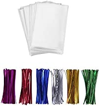 """200 Treat Bags 3x4 with 200 Twist Ties 4"""" 6 Mix Colors - 1.4 mils Thickness OPP Plastic Bags for Lollipop Candy Cake Pop C..."""