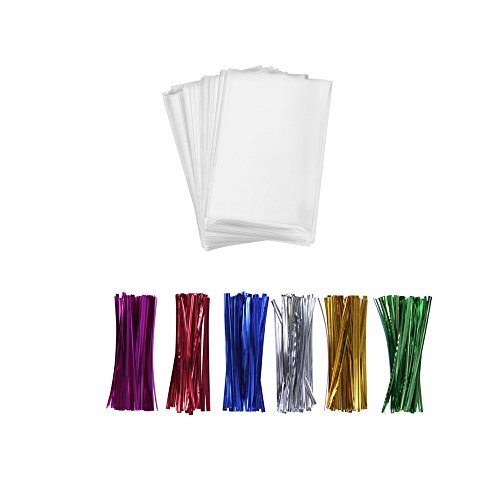 200 Treat Bags 3x4 with 200 Twist Ties 4' 6 Mix Colors - 1.4 mils Thickness OPP Plastic Bags for Lollipop Candy Cake Pop Chocolate Cookie Wrapping Buffet