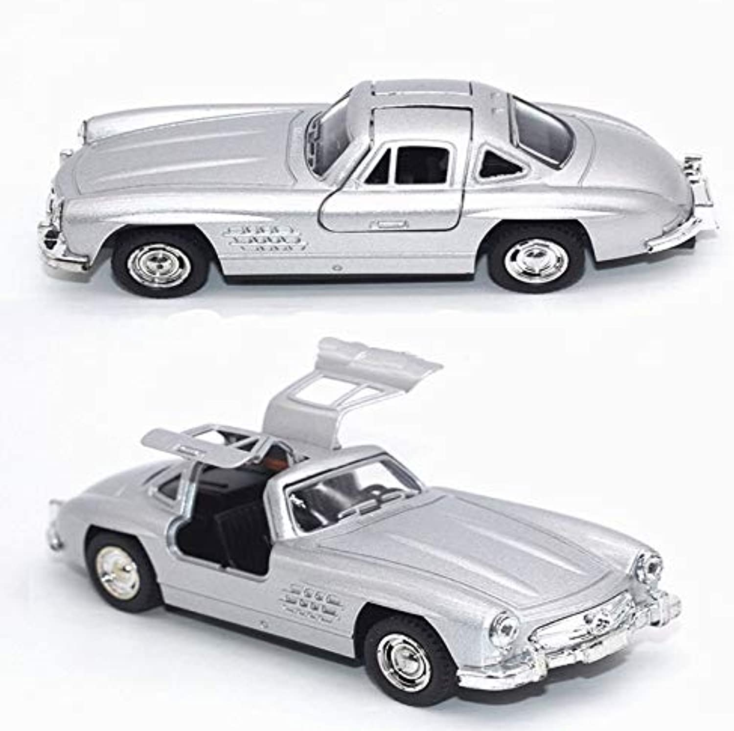 Generic 1 28 Retro Simulation Mercedes SLS Classic Car Collection Model Classic Alloy DieCasting Sound and Light Pull Back Toy Car Silver