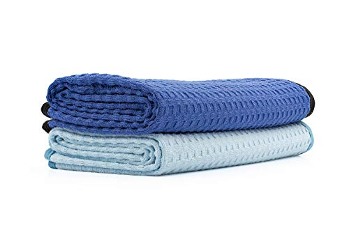 The Rag Company - Dry Me A River - Professional Korean 70/30 Blend Microfiber Waffle-Weave Drying & Detailing Towels, Soft Suede Edges, Light Blue & Royal Blue, 20in x 40in (2 Pack)