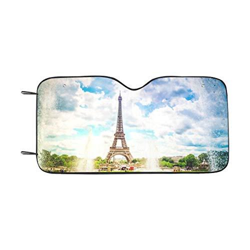 ZANSENG Windschutzscheibe Sonnenschirm, Eiffelturm Trocadero Brunnen Paris Frankreich Klappbarer Autofensterschirm Universal für Autos Geländewagen, halten Sie Ihr Fahrzeug kühl-55 x 30 Zoll