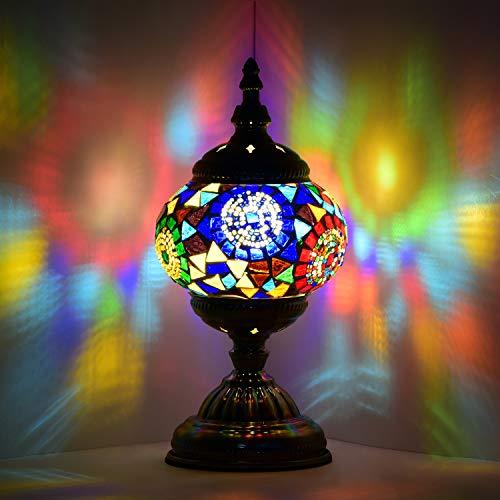 Lámpara marroquí turca, hecha a mano, con mosaico, para mesa de cristal, escritorio, mesita de noche, salón, dormitorio, mesa baja (rojo y azul)