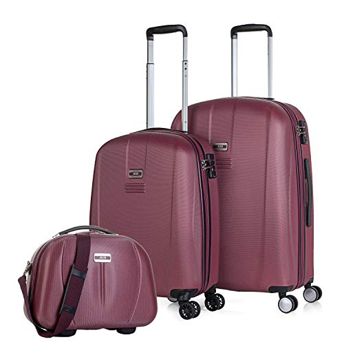 JASLEN – Set of 3 Suitcases and Toiletry Bag, Small 55 x 39 x 20 cm + Medium 66 x 43 x 27 + 36 x 27 x 16 cm, ABS, Rigid and Durable, 4 Wheels, Lightweight, TSA 56515B Lock, Wine (Red) - 56515B