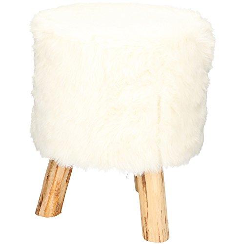 Tabouret en bois rond assise tissu rembourré Blanc 32 x 39h Stool Faux