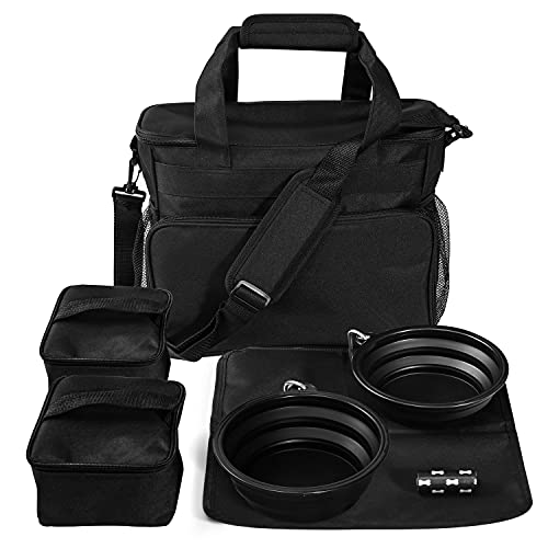 Joysnana Dog Travel Bag - Airline Approved - Weekend Dog Travel Set with 2 Dog Food Containers, 2 Collapsible Dog Bowls - Puppy Travel Portable Dog Accessories with Multi-Function Storage Pockets