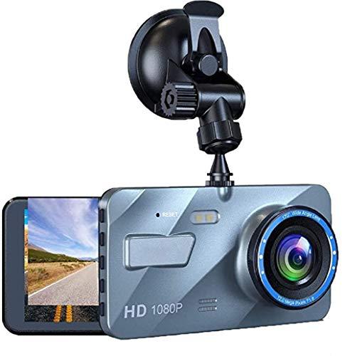 Cámara de Coche Dash CAM 1080P FHD DVR Pantalla LCD de 4 Pulgadas Gran Angular de 170 °, G-Sensor, WDR, Monitor de Aparcamiento, Grabación en Bucle, Detección de Movimiento