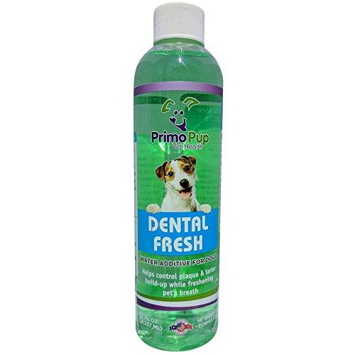 Primo Pup Vet Health - Dental Fresh Water Additive - All Dog Formula with Peppermint Oil - Veterinarian Formula Reduces Plaque & Tartar, Freshens Breath - 8 fl oz