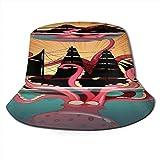 MISS-YAN Sombrero unisex de coral con diseño de monstruos marinos, impermeable, resistente al sol, para pesca, camping, golf, color negro