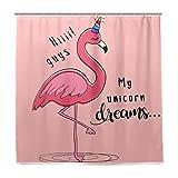 Einhorn Flamingo Vogel Badezimmer Duschvorhang Liner Home Decor Pink Dreams Animal Design Strapazierfähiger Stoff Schimmelresistent Wasserdicht Badewannenvorhänge mit 12 Haken 183,0 cm x 183,0 cm