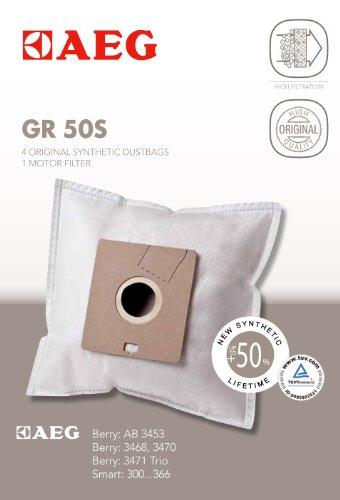 AEG 900166979 Gr 50 S / 4 Synthetik-Staubbeutel, 1 Motorfilter für Berry AB Reihe, Smart 300….366