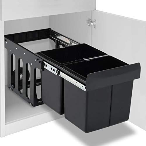vidaXL Abfallbehälter für Küchenschrank Ausziehbar Soft-Close Abfallsorter Küchen Einbau Abfalleimer Abfallsammler Mülltrenner Mülleimer 36L