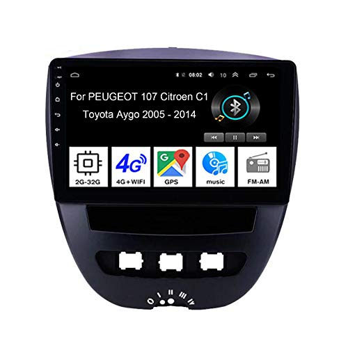 Autoradio Android 9 Pollice Video Pollici Touch Multimedia GPS Navigation Per PEUGEOT 107 Citroen C1 Toyota Aygo 2005-2014 4 Cores 2G+32G Stereo Auto Bluetooth Collega E Usa Supporto Dab