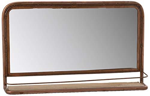 Amadeus Miroir en métal cuivré avec étagère en Bois