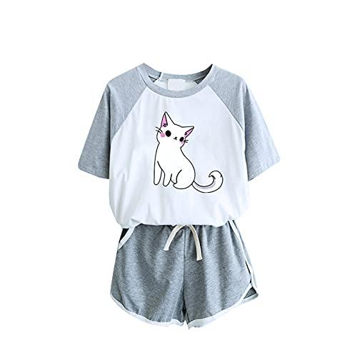 Holywin Femme ete Pyjama Imprimé Chat T-Shirt décontracté à Manches Courtes Femme Vêtements de Nuit Ensemble de Nuit Survêtement